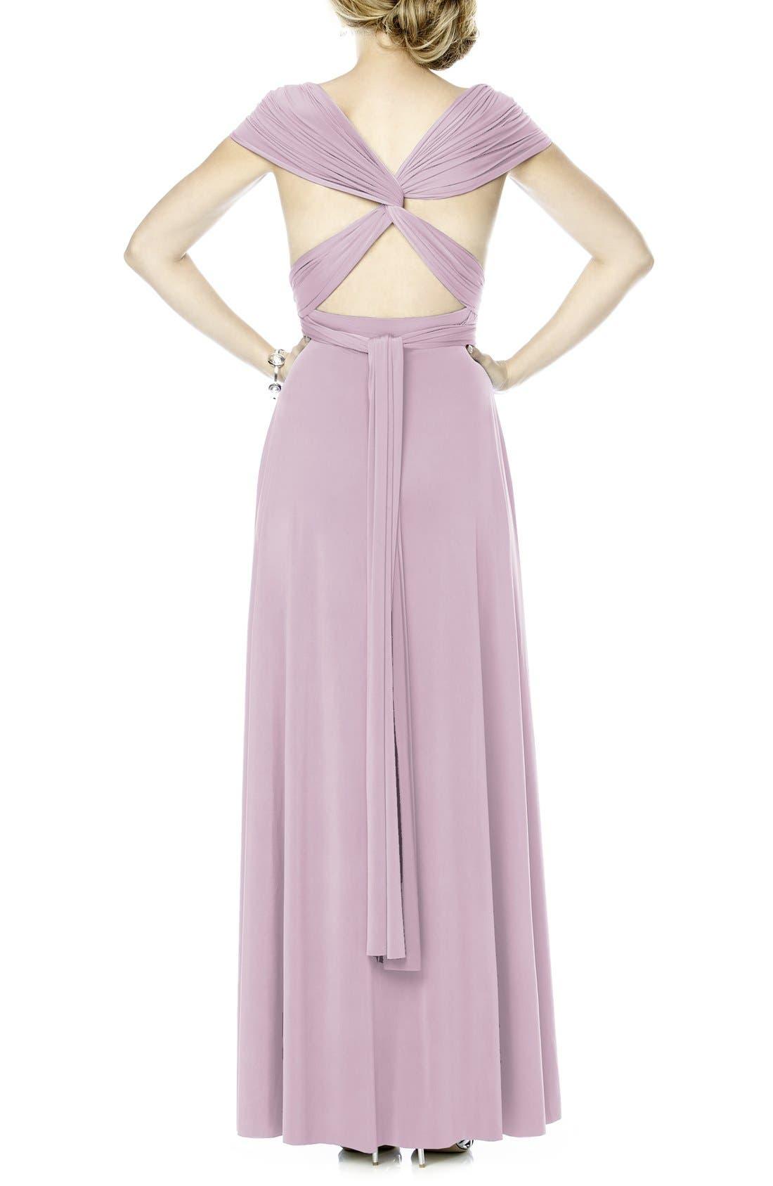 Convertible Wrap Tie Surplice Jersey Gown,                             Alternate thumbnail 2, color,                             Suede Rose