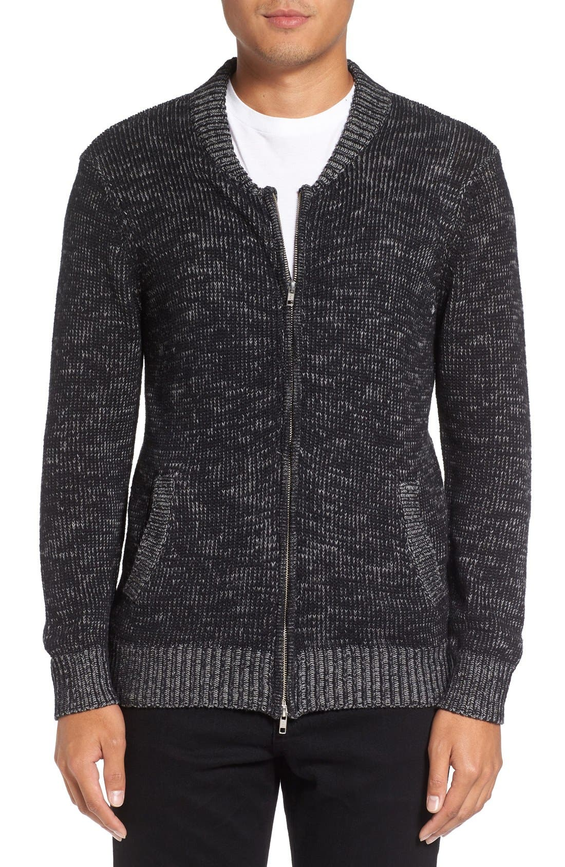 Two-Way Zip Mélange Sweater,                             Main thumbnail 1, color,                             Black/ Heather Grey