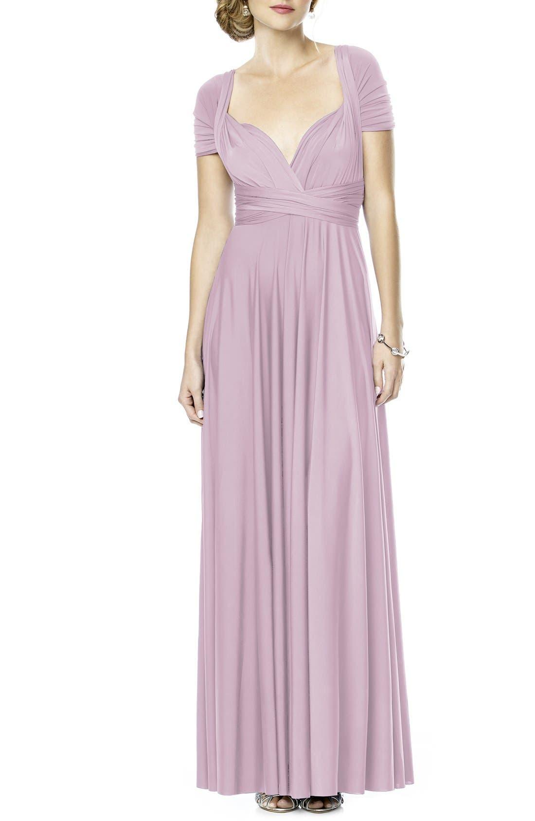 Convertible Wrap Tie Surplice Jersey Gown,                             Main thumbnail 1, color,                             Suede Rose