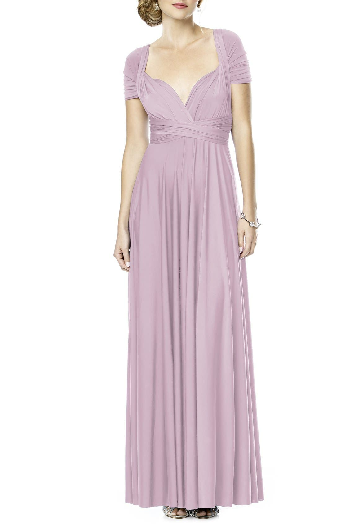 Main Image - Dessy Collection Convertible Wrap Tie Surplice Jersey Gown