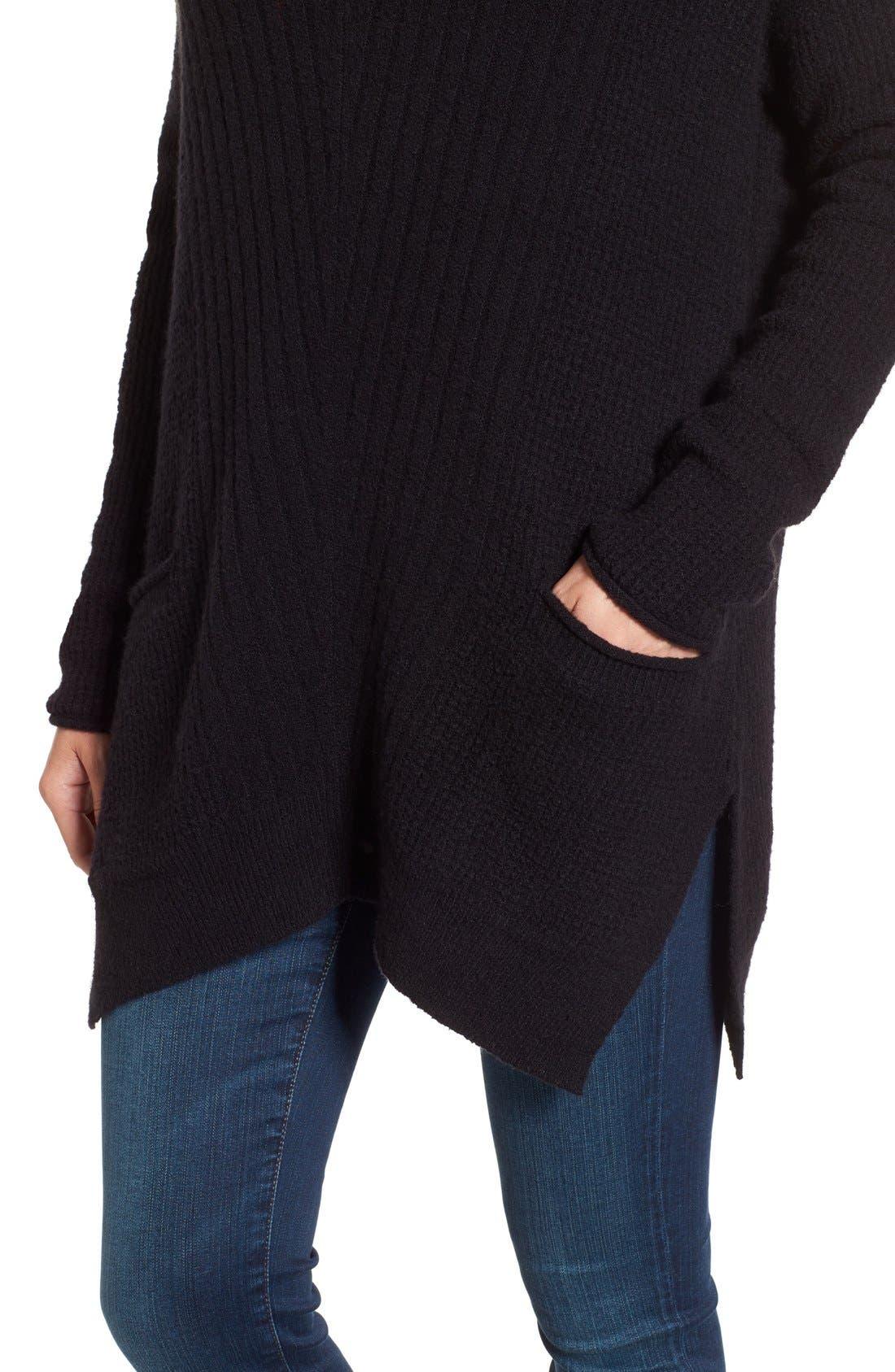 Alternate Image 4  - Caslon® Long Shark Bite Hem Sweater (Regular & Petite)