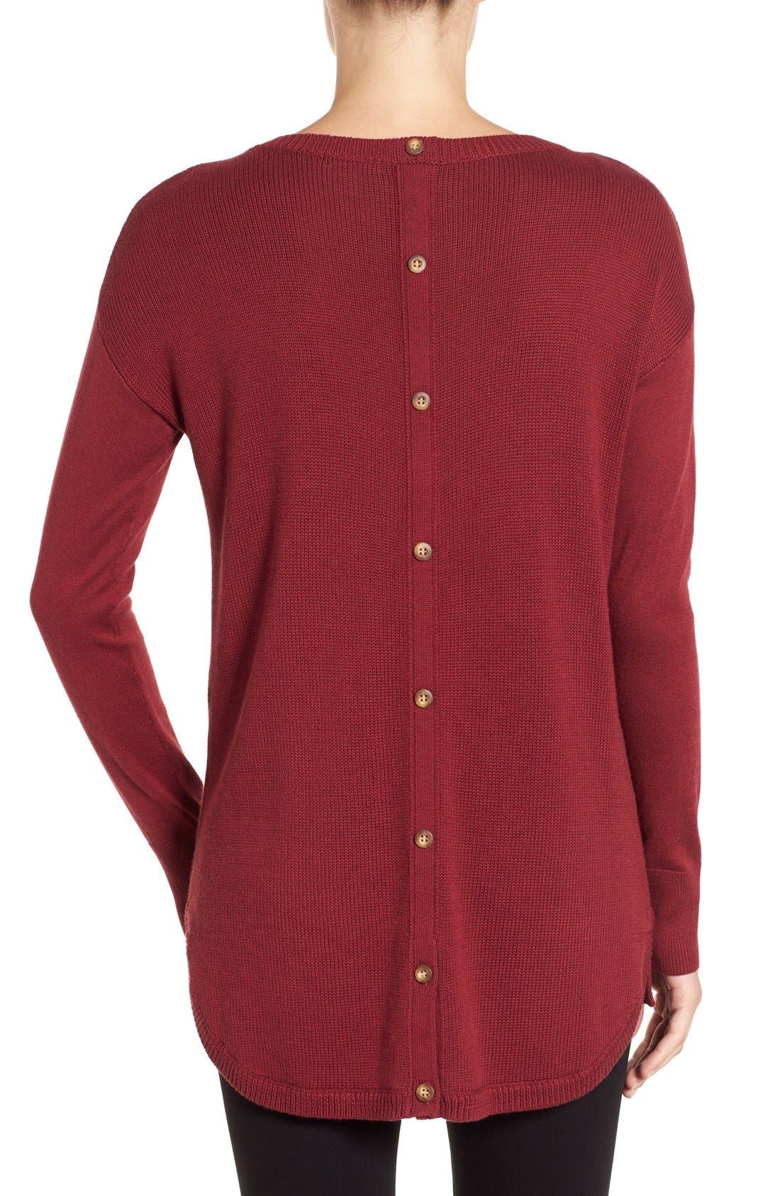 Alternate Image 2  - Caslon® Button Back Tunic Sweater (Regular & Petite)
