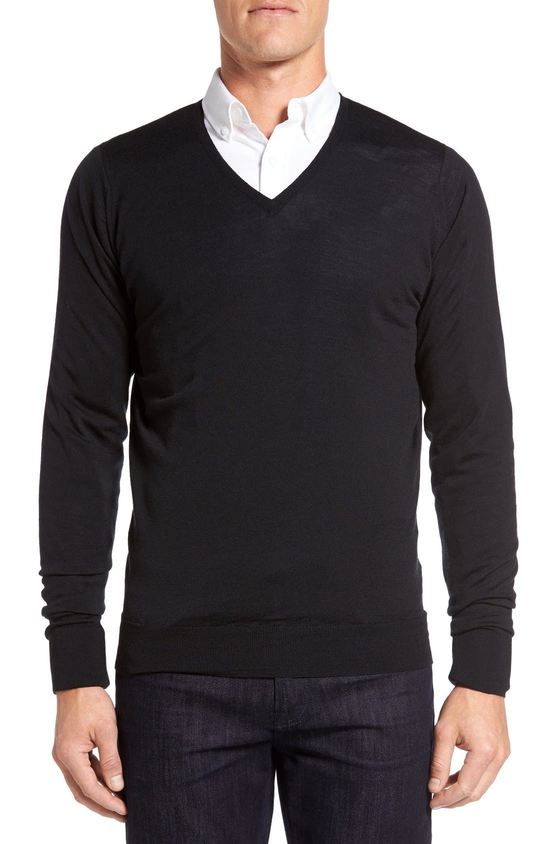 'Bobby' Easy Fit V Neck Wool Sweater,                             Main thumbnail 1, color,                             Black