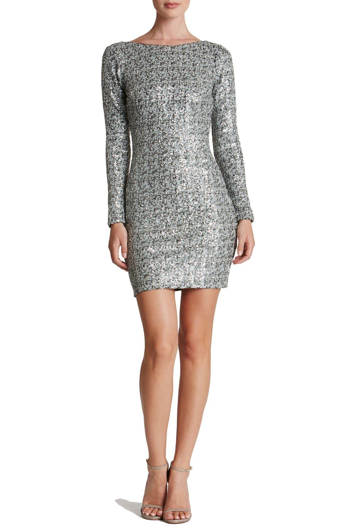 Lola Body-Con Dress,                         Main,                         color, White/ Silver/ Black