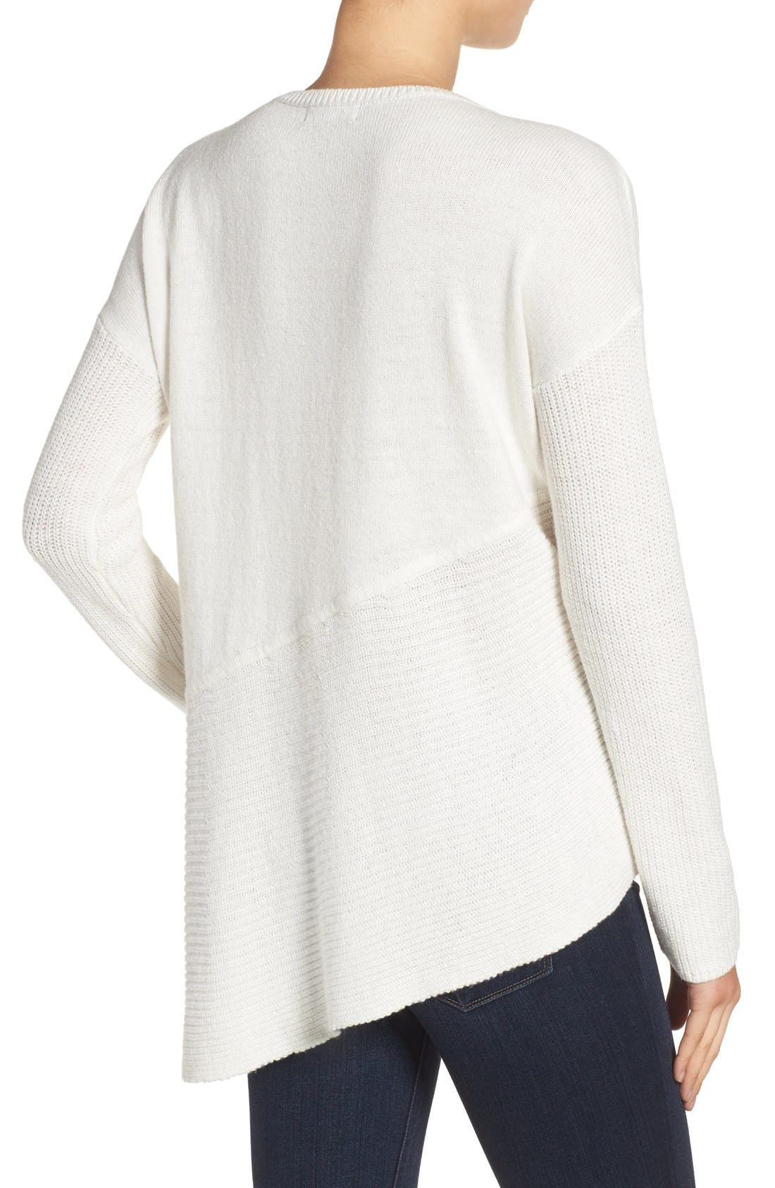 Asymmetrical Hem Sweater,                             Alternate thumbnail 3, color,                             White Snow