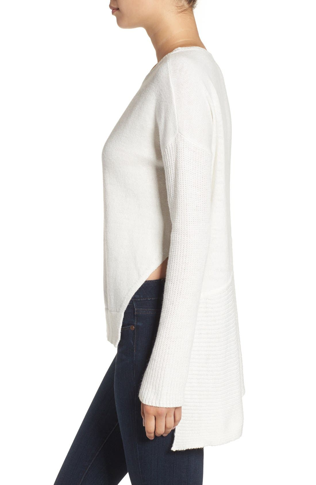 Asymmetrical Hem Sweater,                             Alternate thumbnail 5, color,                             White Snow