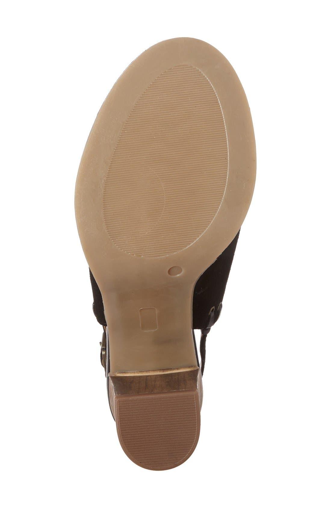 'Ora' Block Heel Slingback Sandal,                             Alternate thumbnail 4, color,                             Black Suede