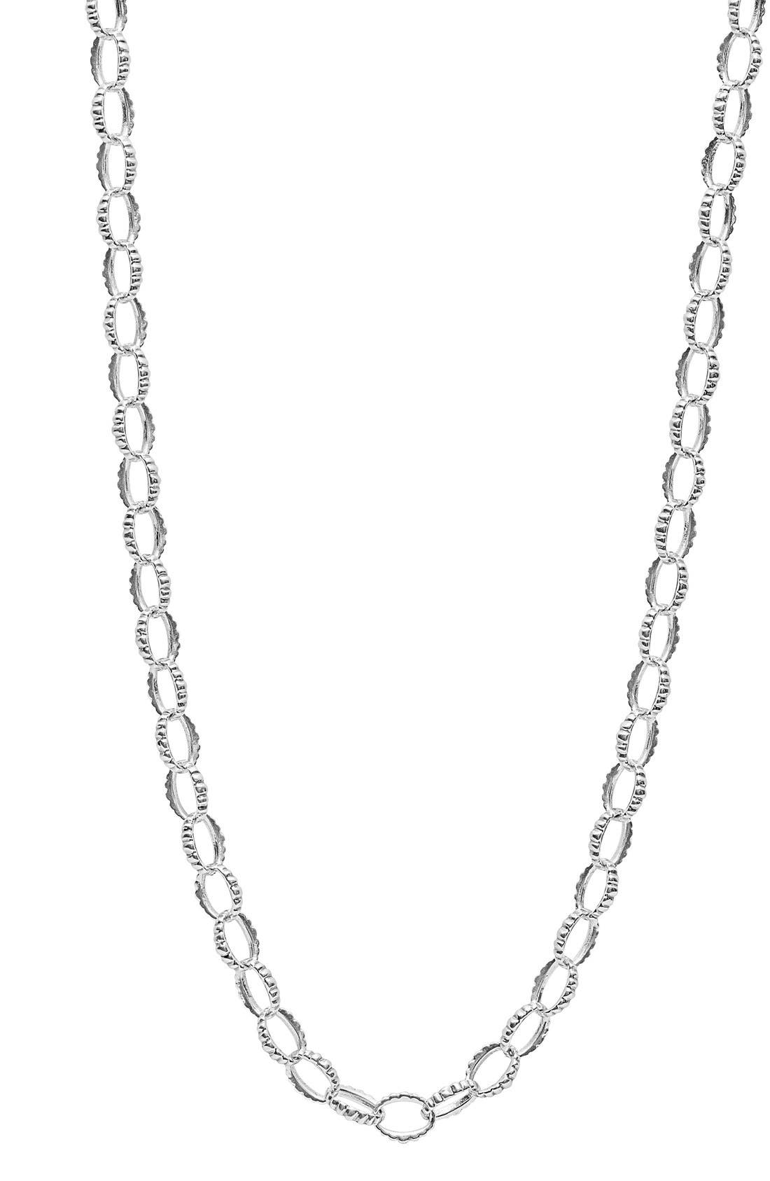 Long Link Necklace,                             Alternate thumbnail 5, color,                             Sterling Silver