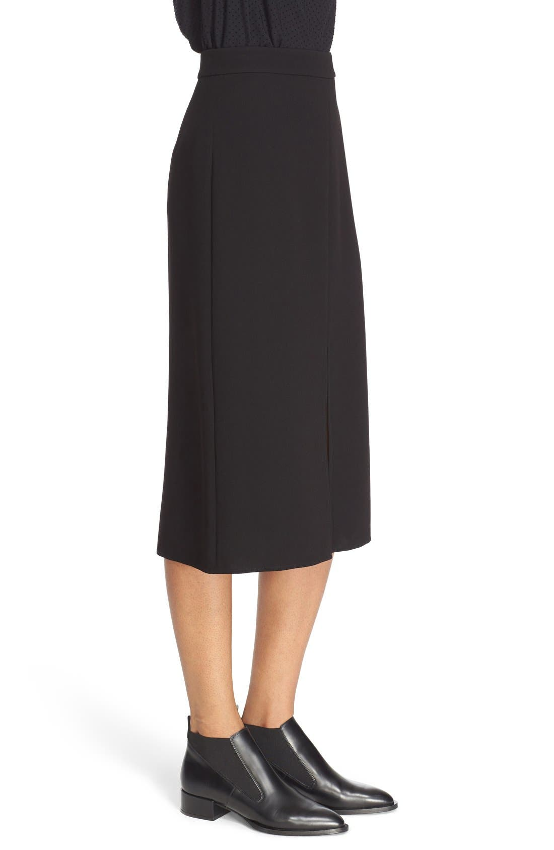 Double Slit Crepe Skirt,                             Alternate thumbnail 3, color,                             Black