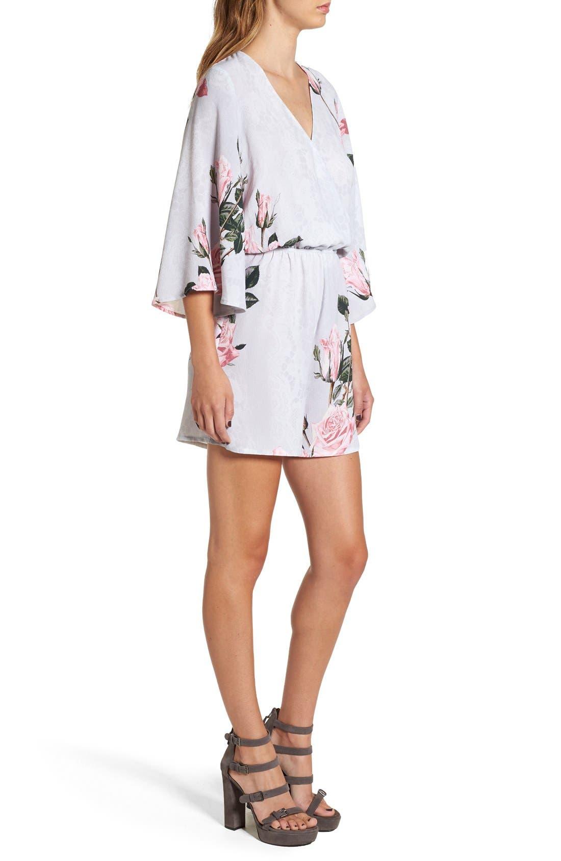 Alternate Image 3  - Glamorous Floral Print Lace Kimono Romper