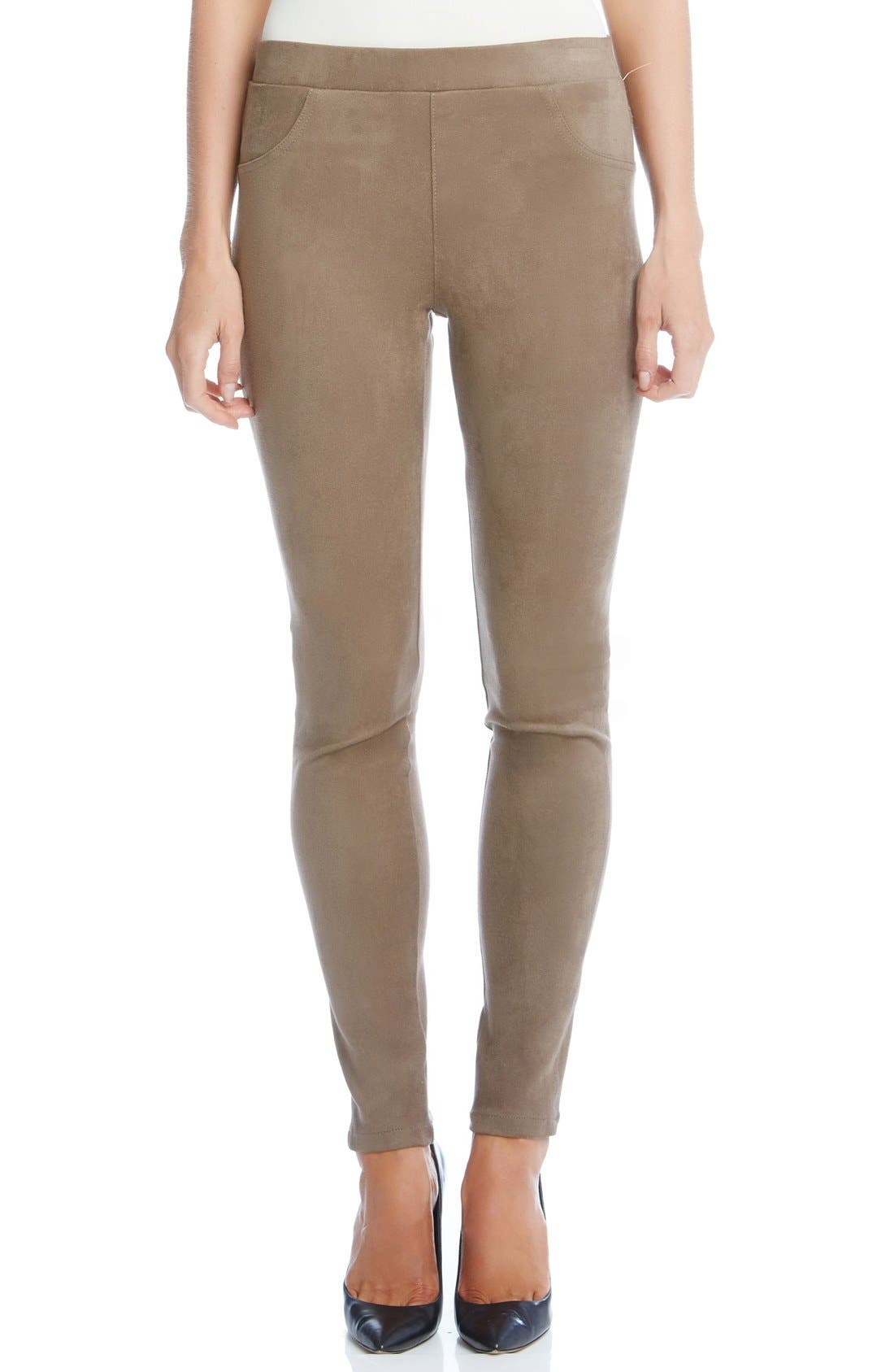 Faux Suede Knit Skinny Pants,                             Main thumbnail 1, color,                             Mushroom