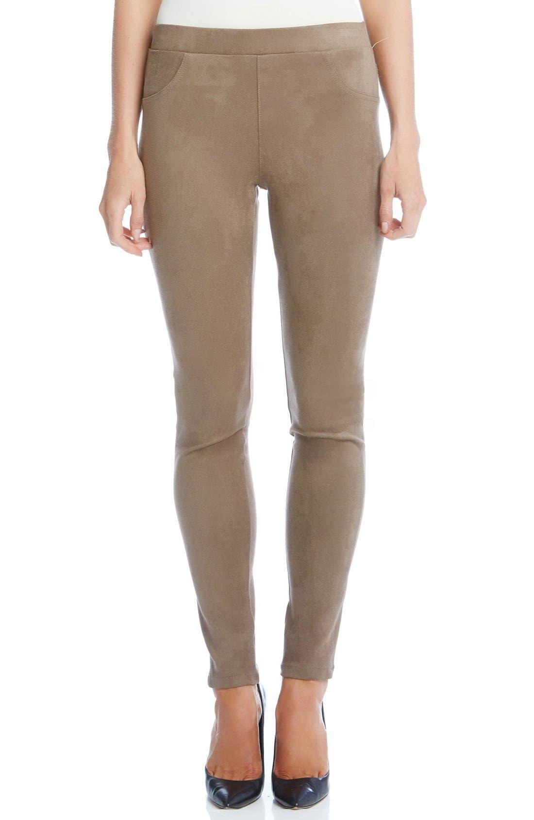 Faux Suede Knit Skinny Pants,                         Main,                         color, Mushroom