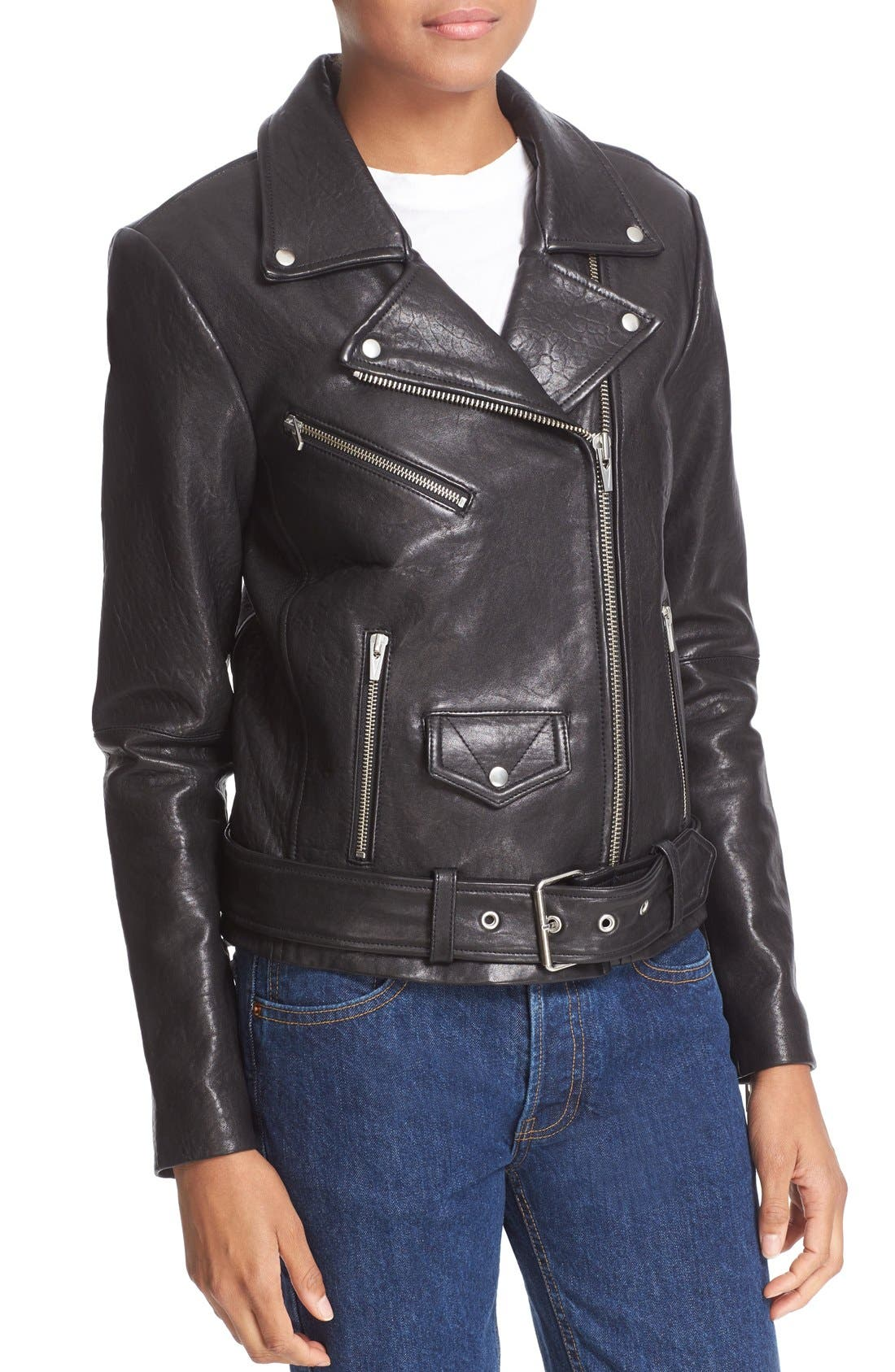 'Jayne' Lambskin Leather Moto Jacket,                             Alternate thumbnail 4, color,                             Black