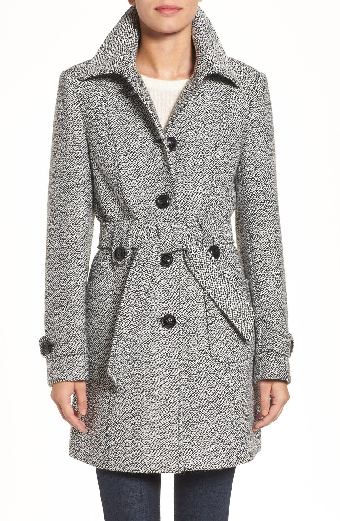 Belted Tweed Coat,                             Main thumbnail 1, color,                             Black/ White