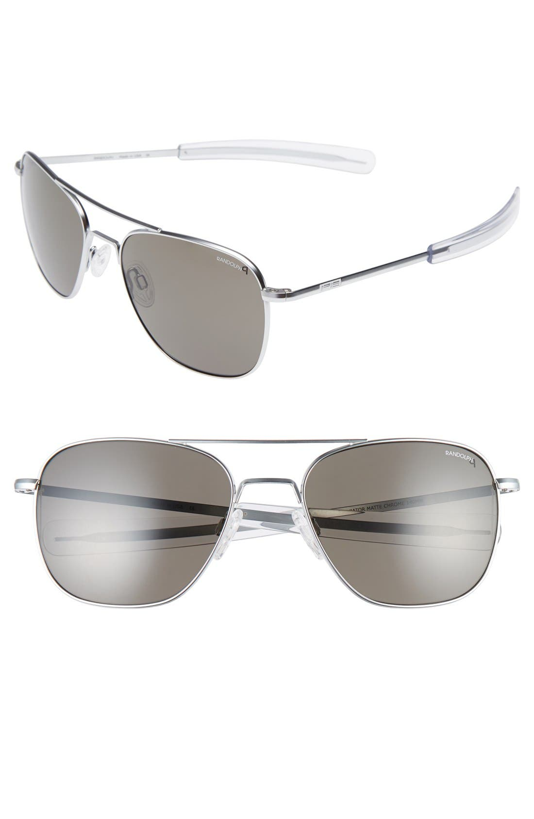 RANDOLPH ENGINEERING 58mm Polarized Aviator Sunglasses