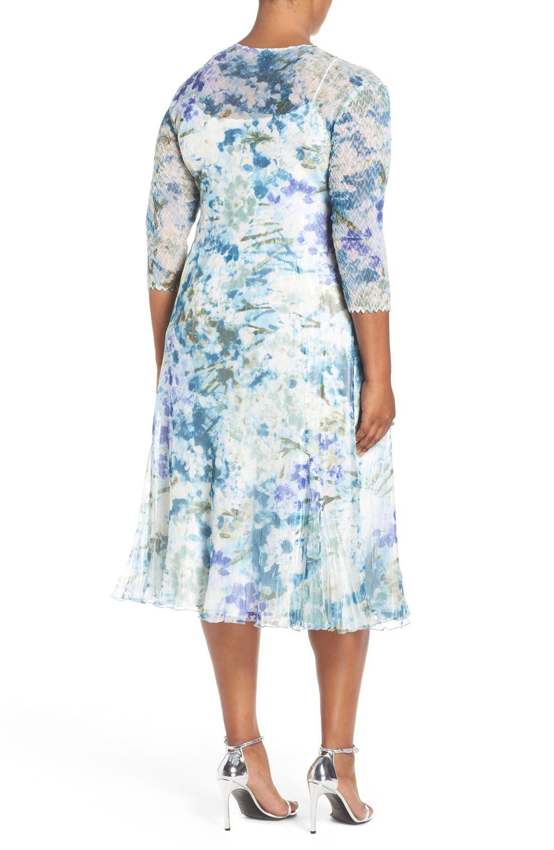 Alternate Image 2  - Komarov Print Three-Quarter Sleeve Chiffon A-Line Dress (Plus Size)