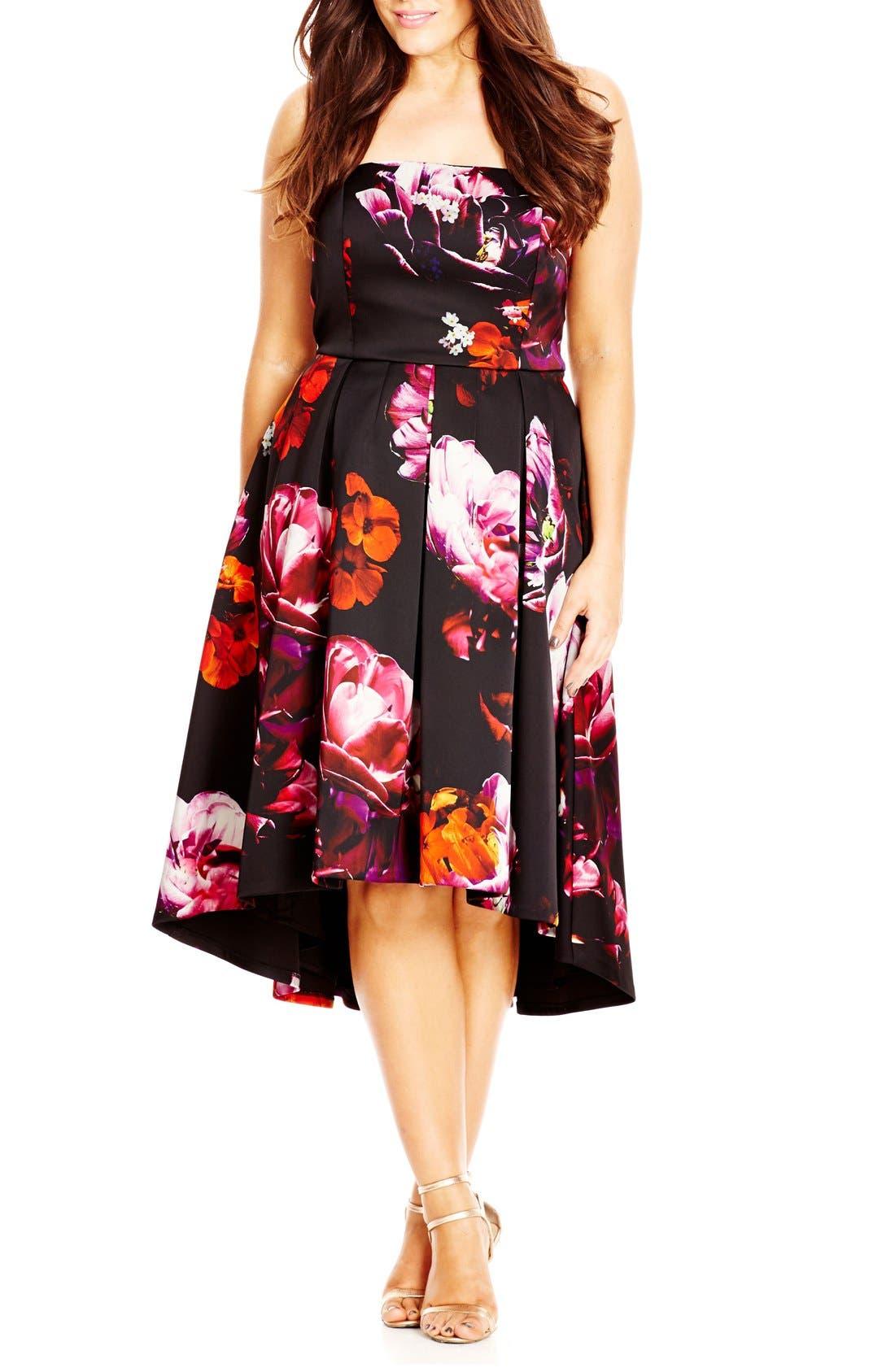 'Floral Magic' Floral Print Strapless High/Low Dress,                         Main,                         color, Black