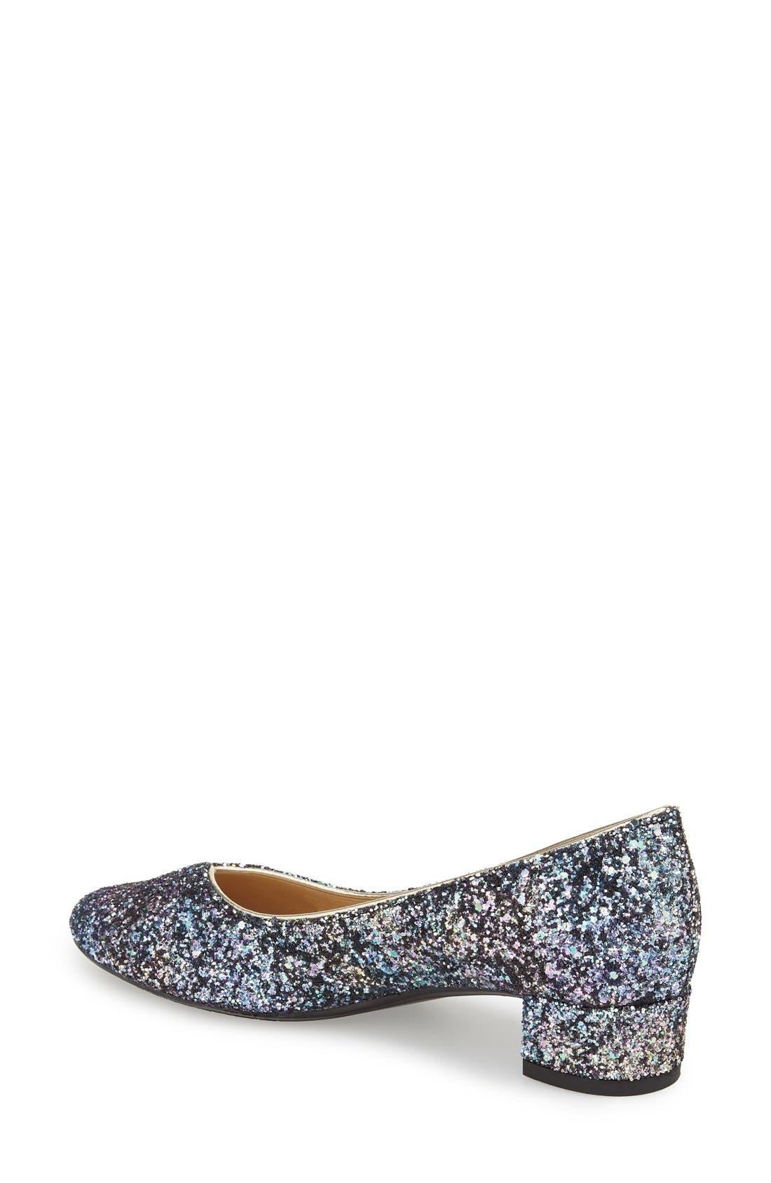'Bambalina' Block Heel Glitter Pump,                             Alternate thumbnail 2, color,                             Blue/ Gold Glitter Fabric