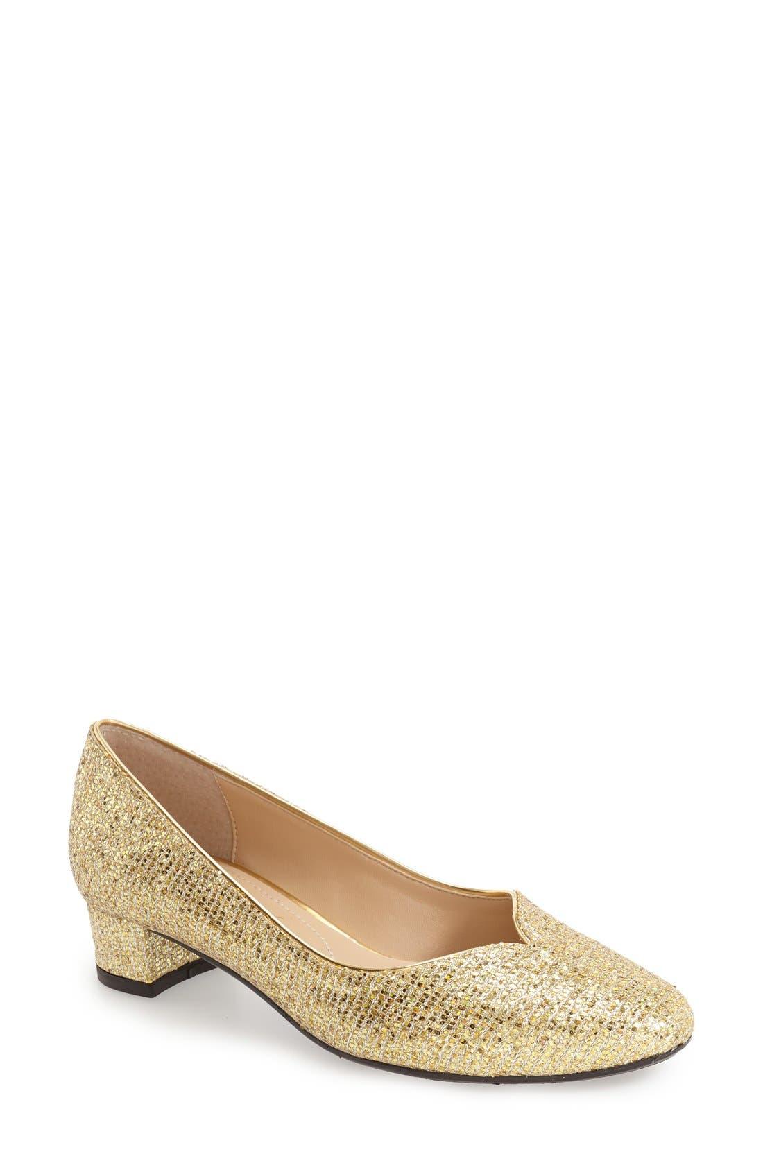 'Bambalina' Block Heel Glitter Pump,                             Main thumbnail 1, color,                             Gold Glitter Fabric