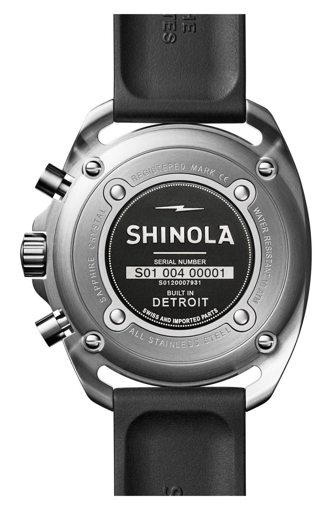 Alternate Image 3  - Shinola 'The Rambler' Chronograph Rubber Strap Watch, 44mm