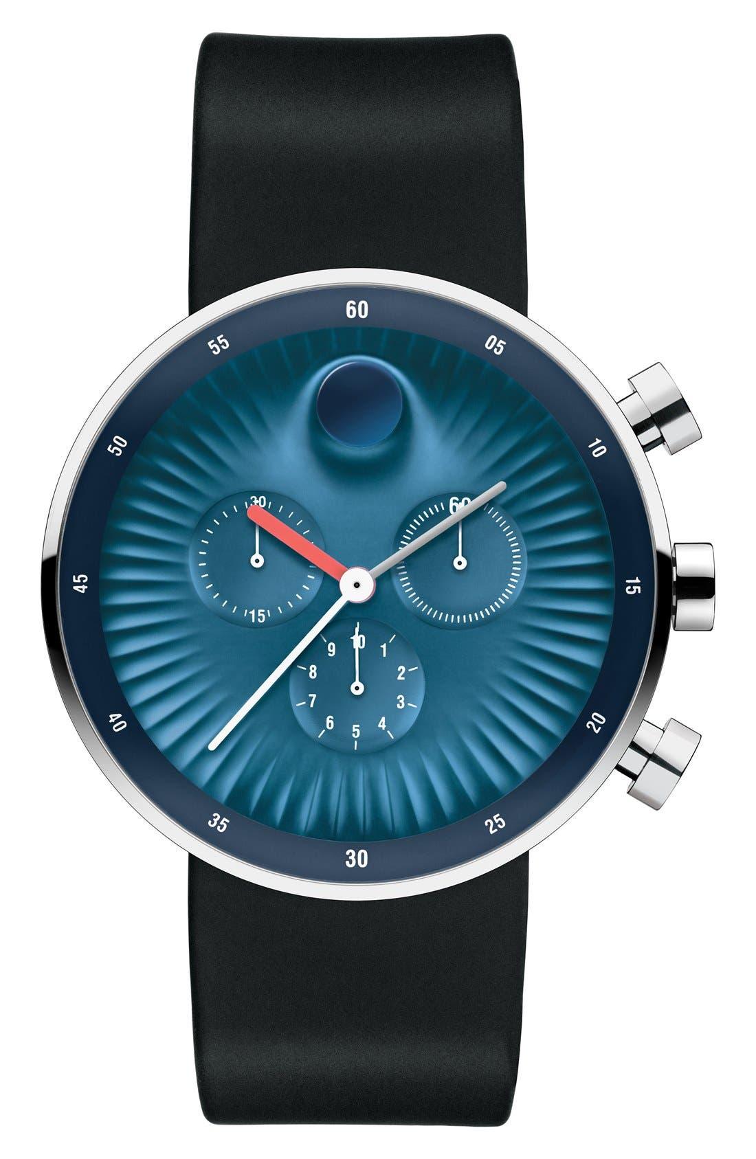 'Edge' Chronograph Silicone Strap Watch, 42mm,                         Main,                         color, Black/ Blue
