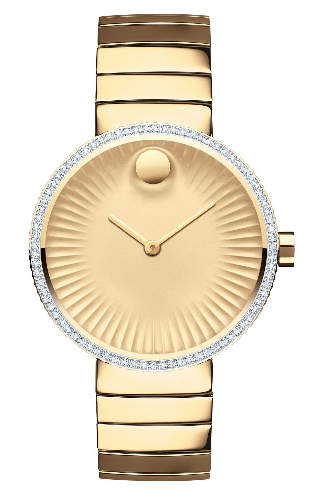 'Edge' Diamond Bracelet Watch, 34mm,                             Main thumbnail 1, color,                             Gold