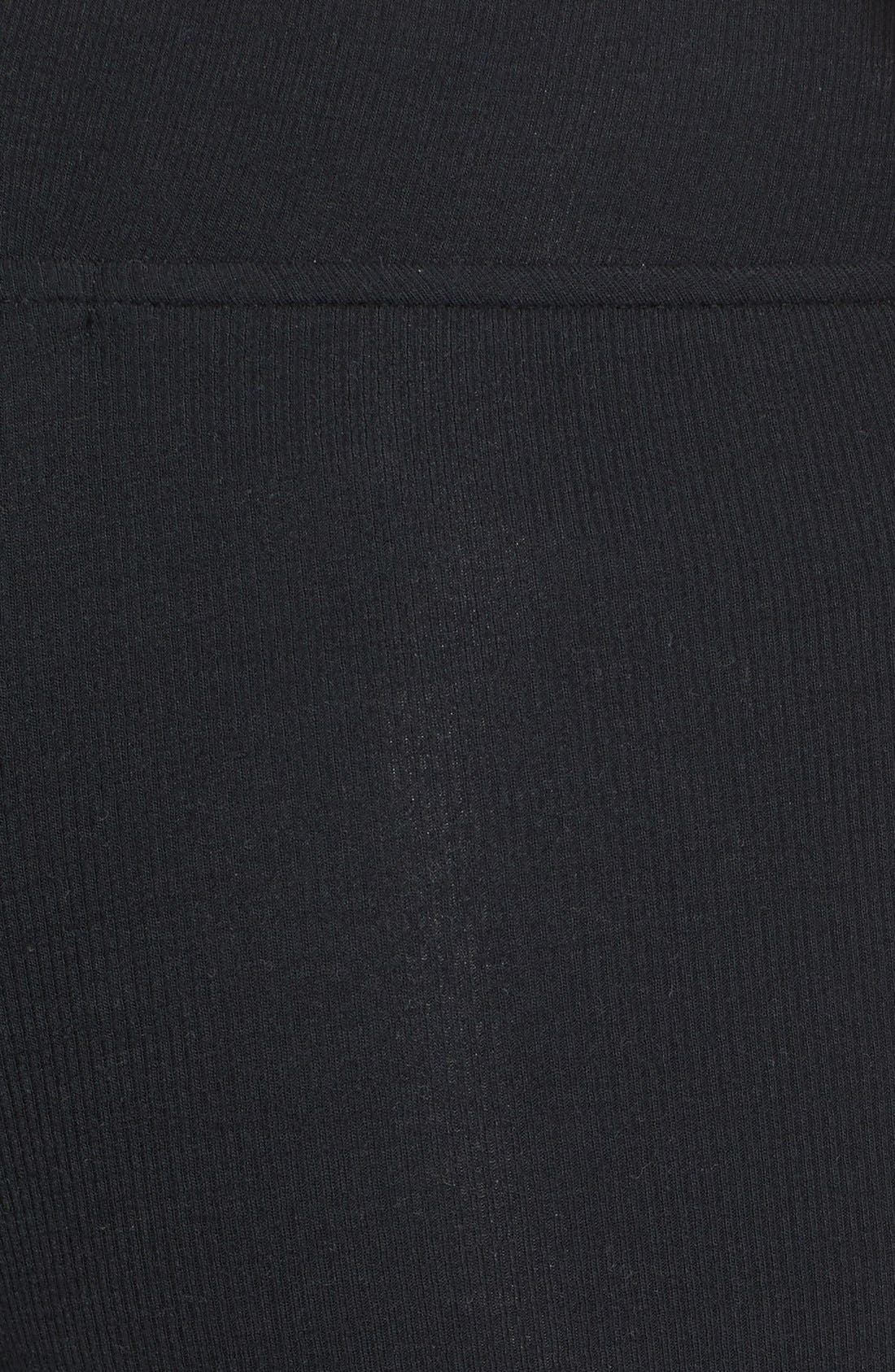 Rib Knit Yoga Leggings,                             Alternate thumbnail 5, color,                             Black