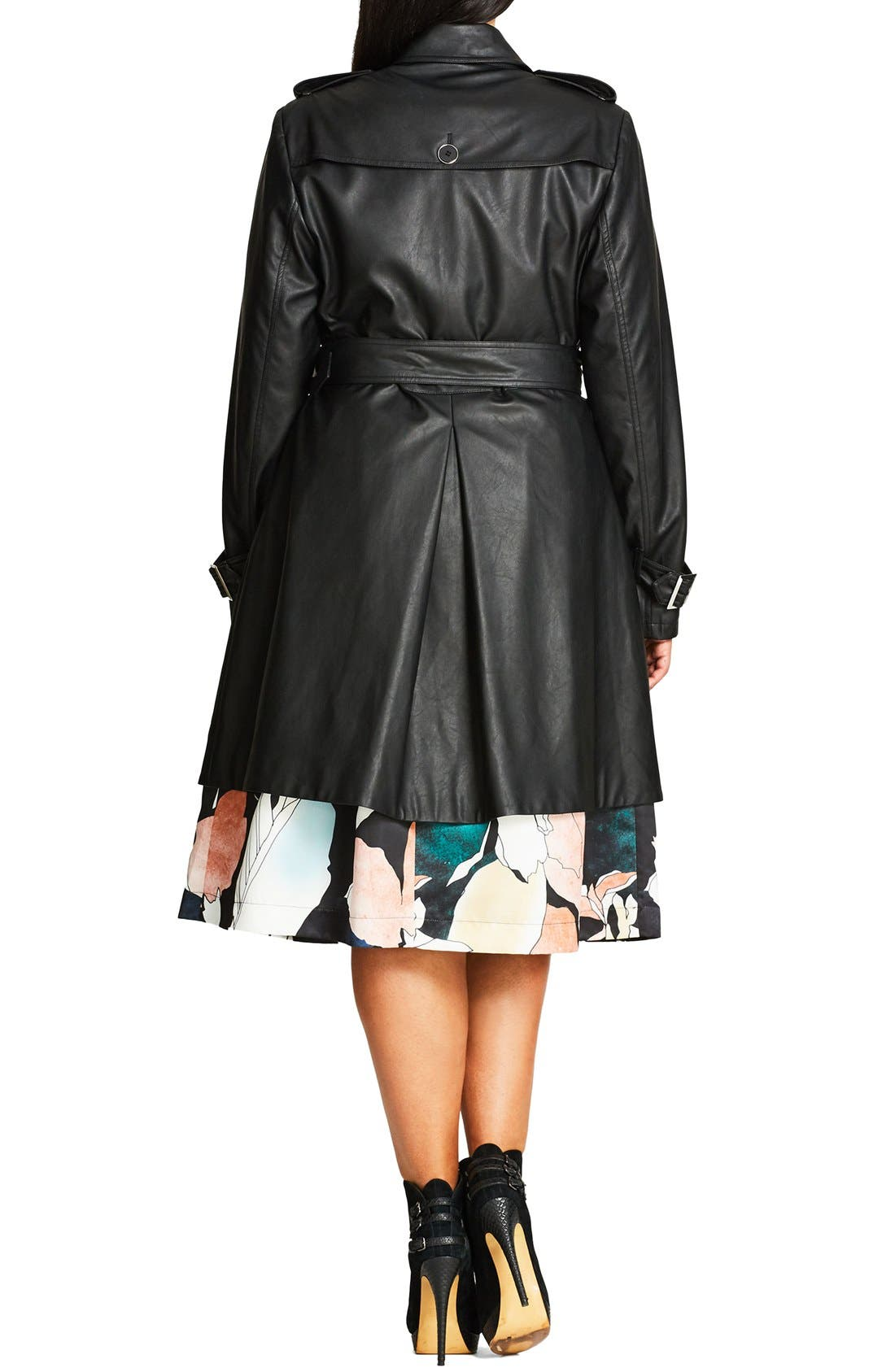 Alternate Image 2  - City Chic 'Vinyl Weave' Braid Detail Faux Leather Trench Coat (Plus Size)