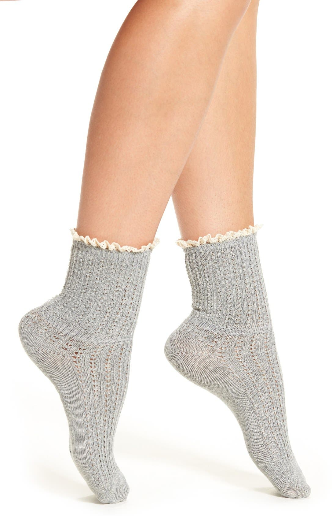 Alternate Image 1 Selected - Peony & Moss Lace Trim Crew Socks