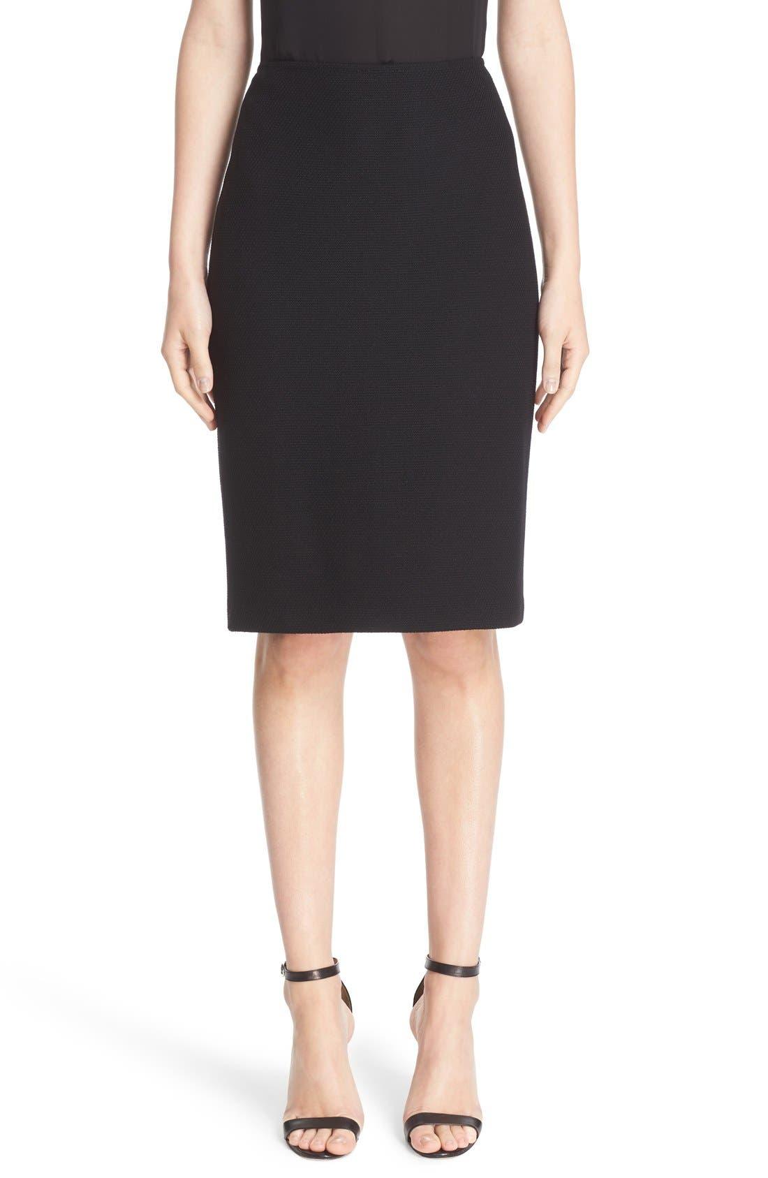 Micro Bouclé Pencil Skirt,                             Main thumbnail 1, color,                             Caviar