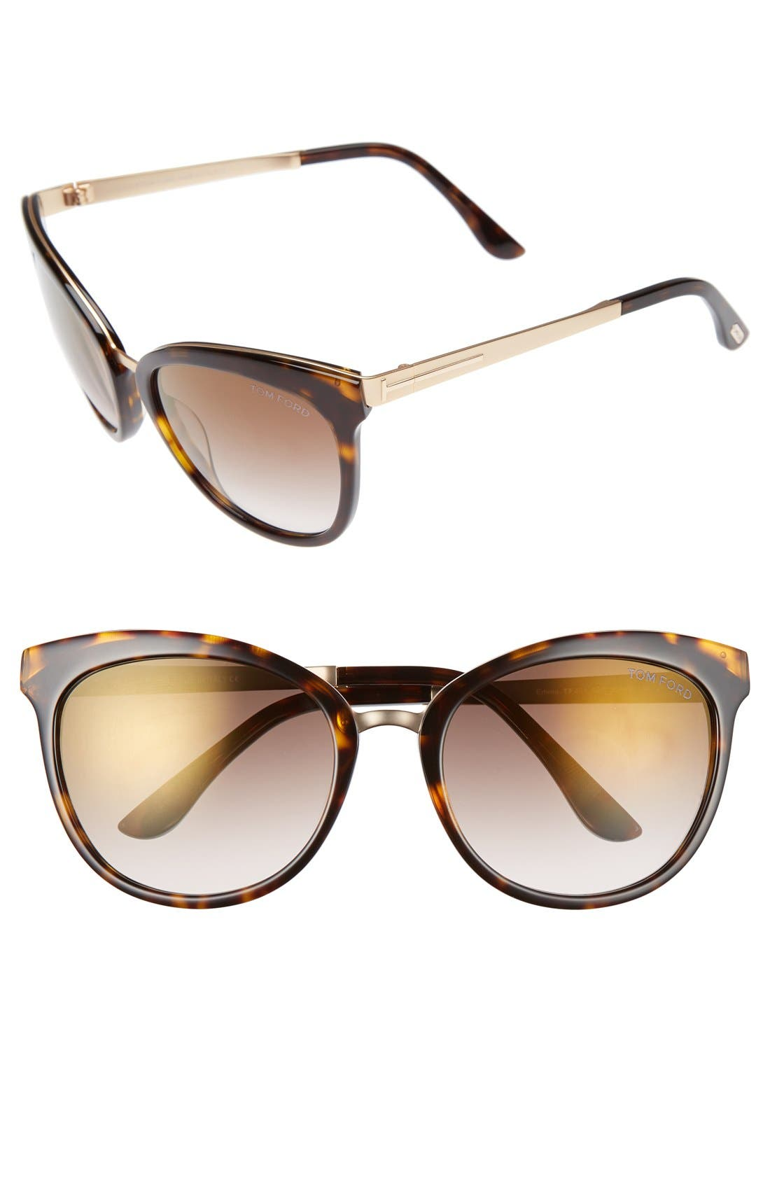 'Emma' 56mm Retro Sunglasses,                         Main,                         color, Dark Havana/ Brown Mirror