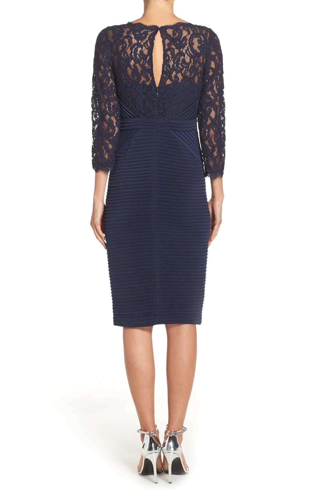 Lace & Jersey Sheath Dress,                             Alternate thumbnail 2, color,                             Midnight