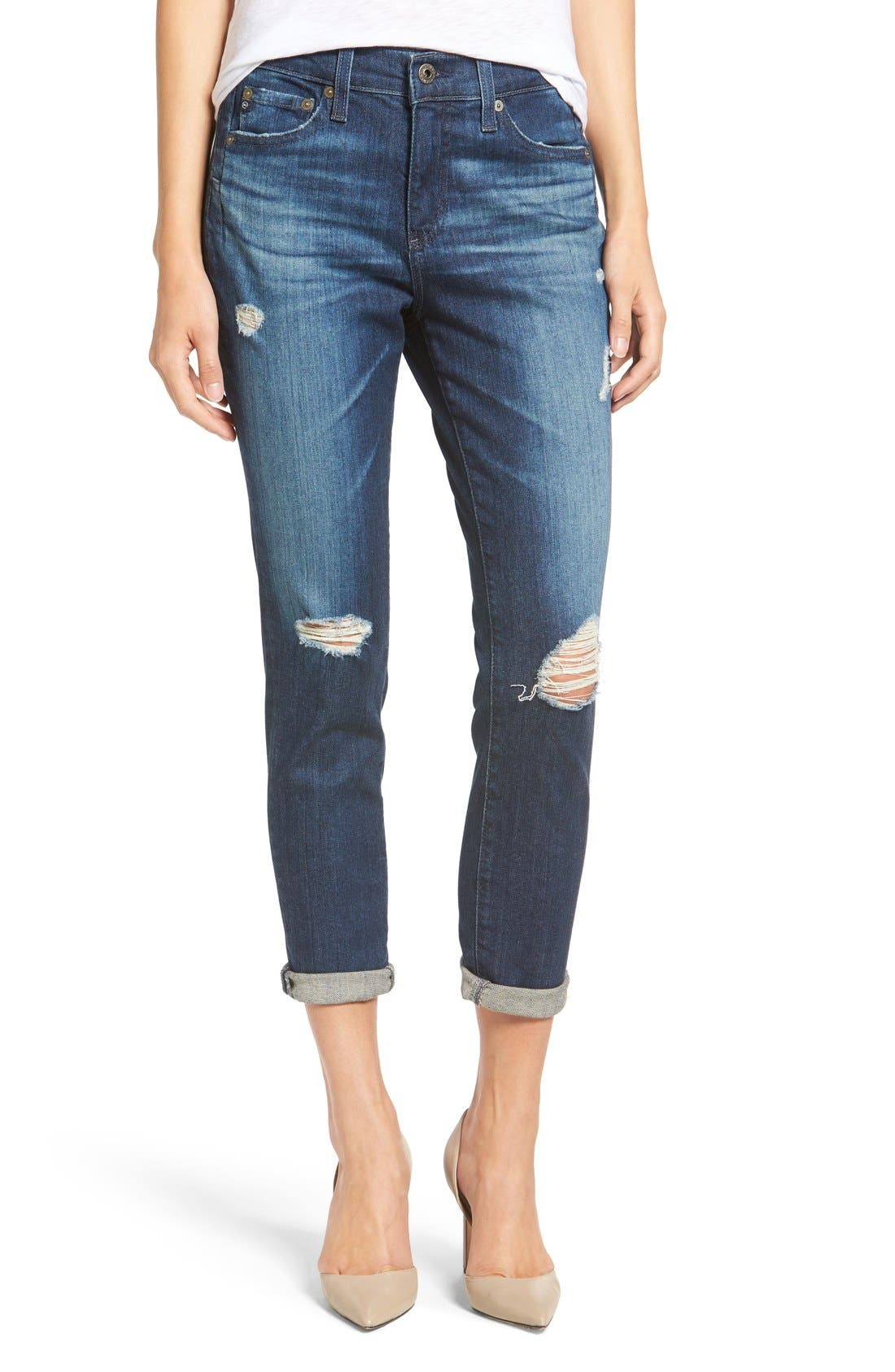 Alternate Image 1 Selected - AG 'The Beau' High Rise Slouchy Skinny Jeans (Winnow)