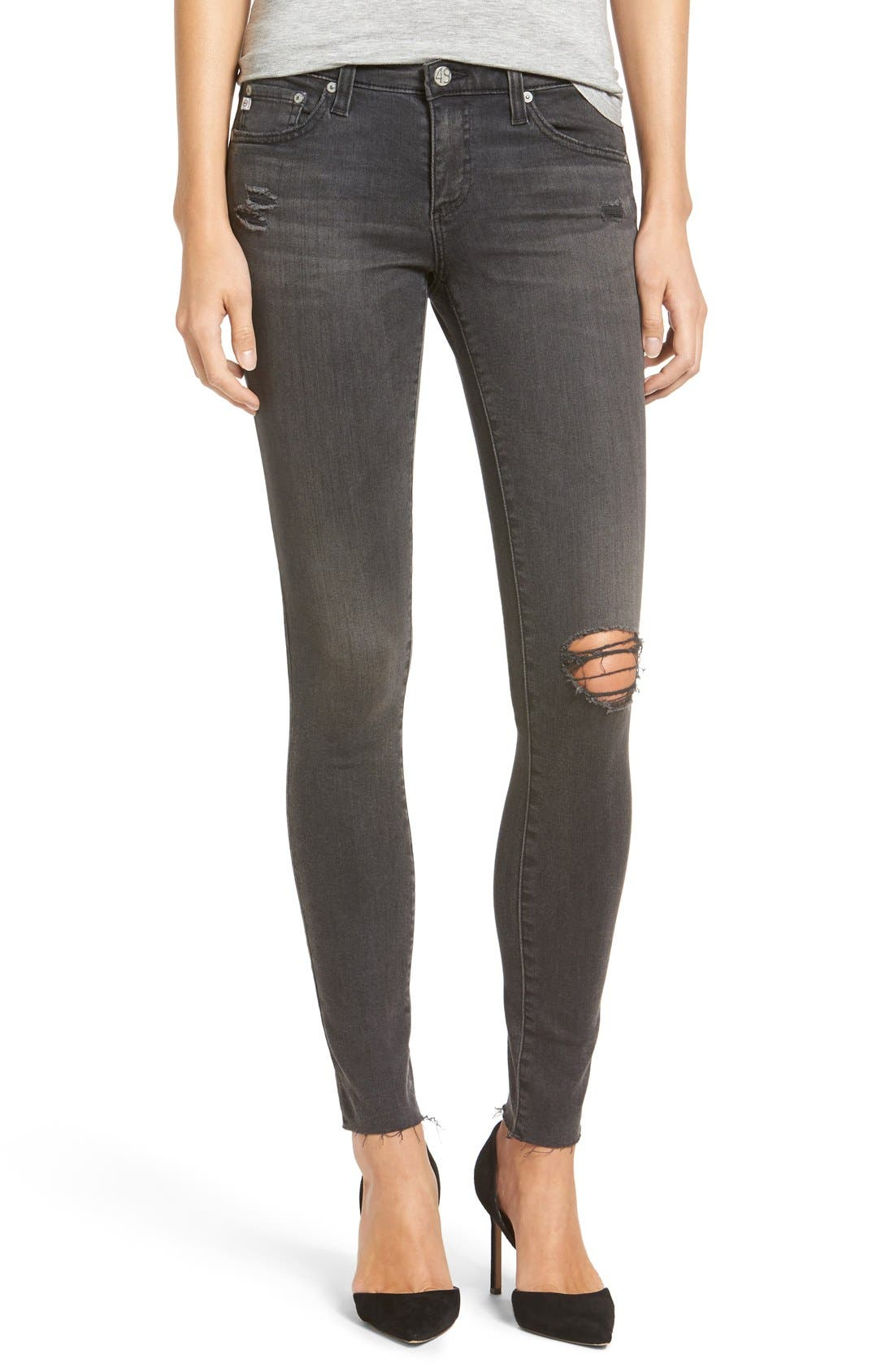 Alternate Image 1 Selected - AG The Legging Ripped Super Skinny Jeans (10 Year Well Worn)