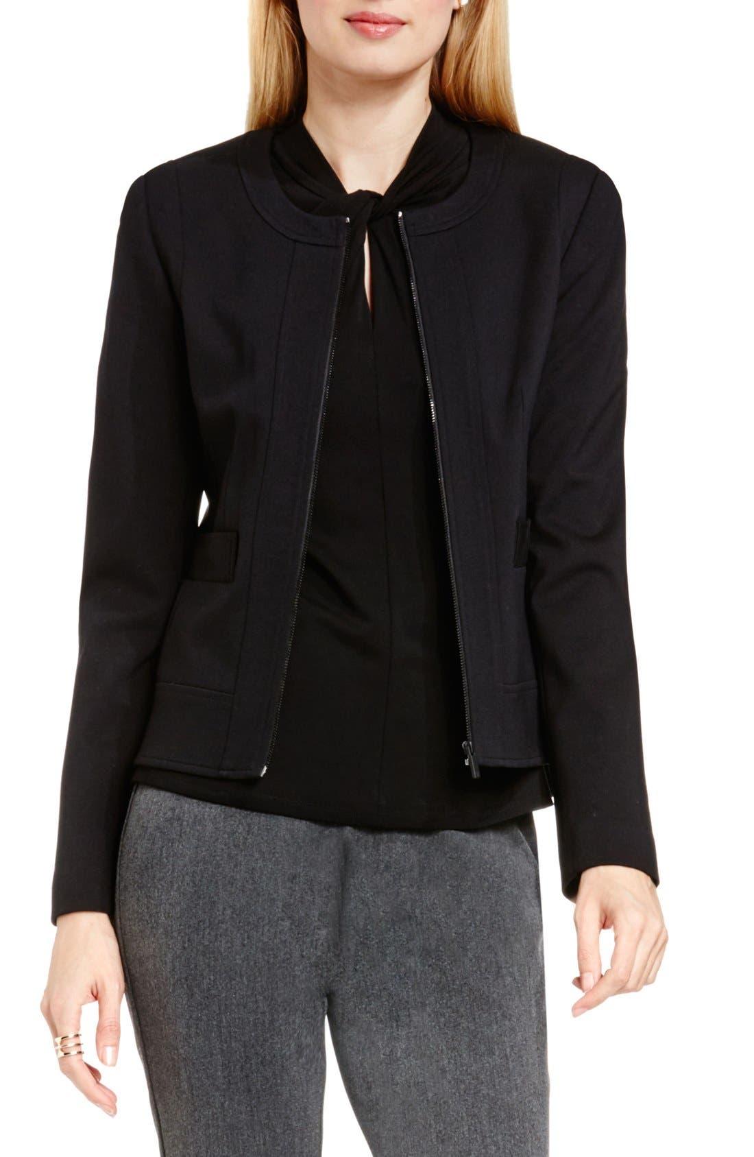 Front Zip Collarless Jacket,                             Main thumbnail 1, color,                             Rich Black