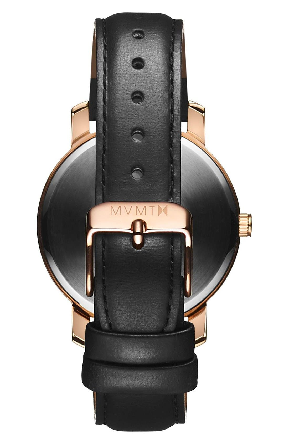 Leather Strap Watch, 38mm,                             Alternate thumbnail 2, color,                             Black/ Rose Gold