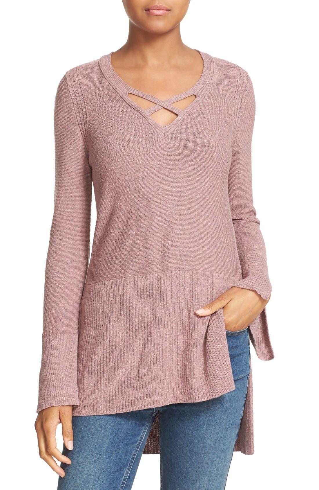 Crisscross Sweater,                         Main,                         color, Mauve