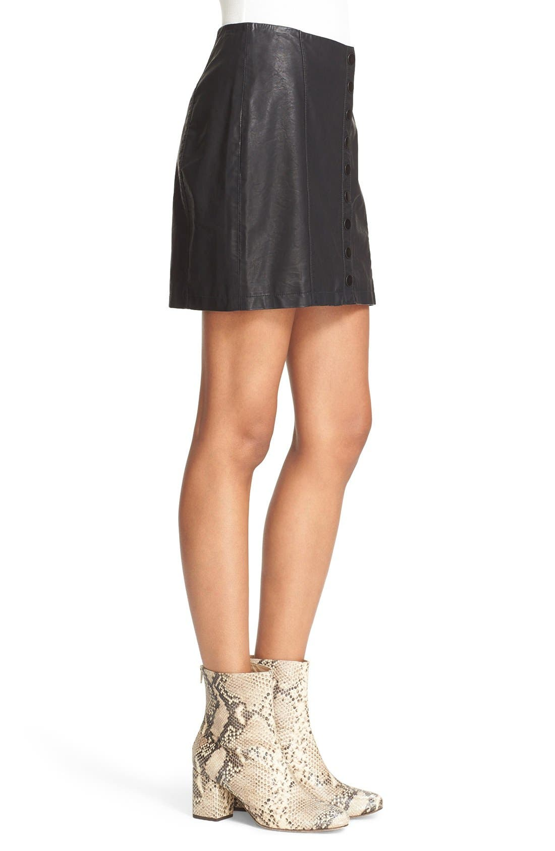 Alternate Image 4  - Free People 'Oh Snap' Faux Leather Miniskirt