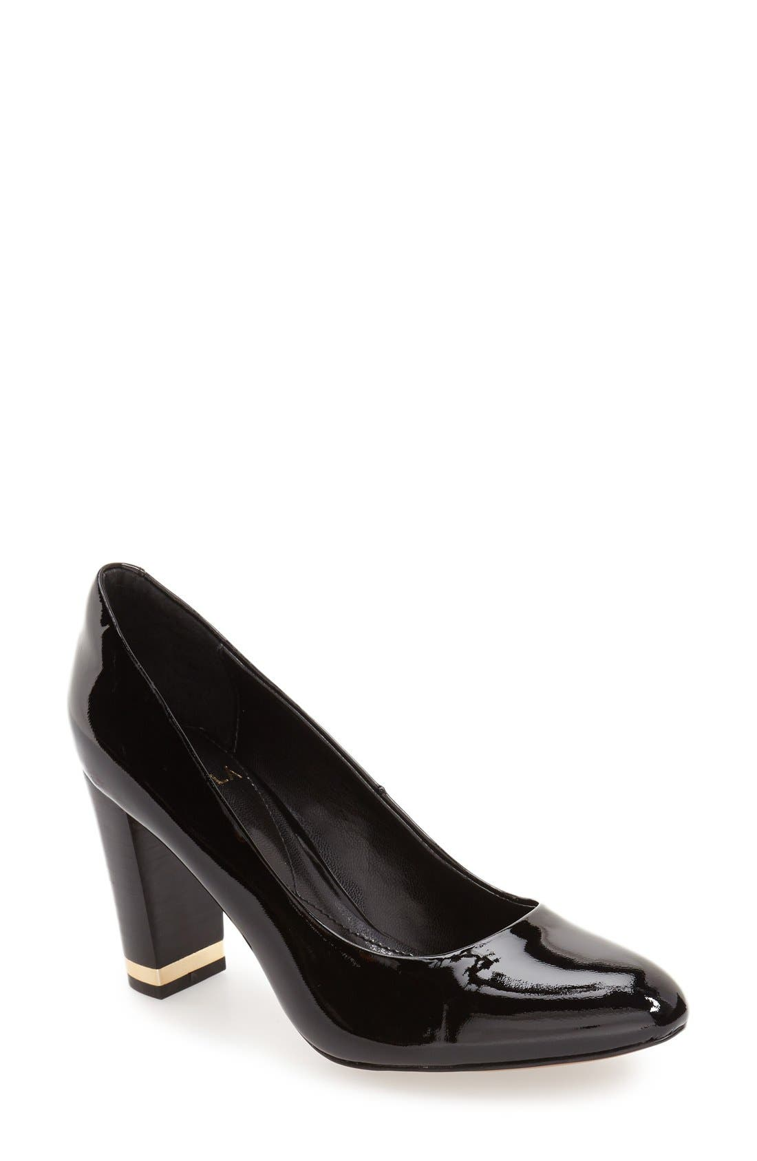 'Eleni II' Block Heel Pump,                             Main thumbnail 1, color,                             Black Patent