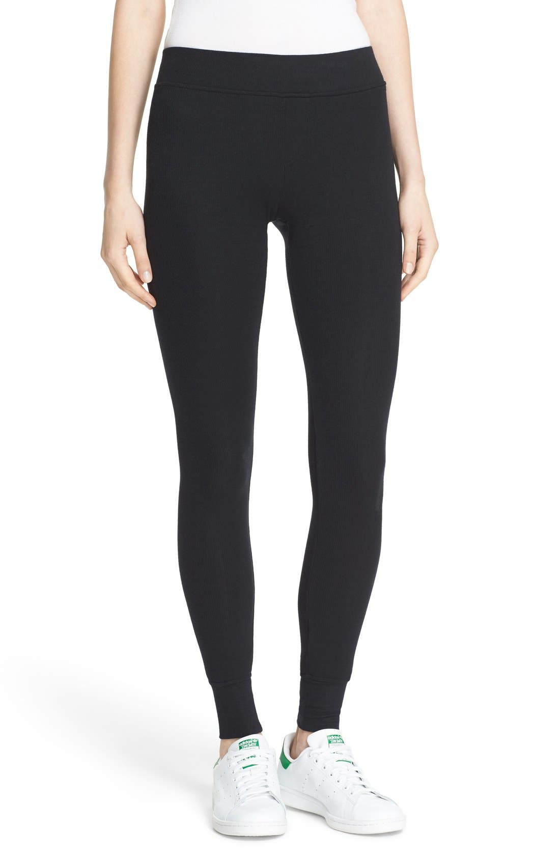 Rib Knit Yoga Leggings,                         Main,                         color, Black