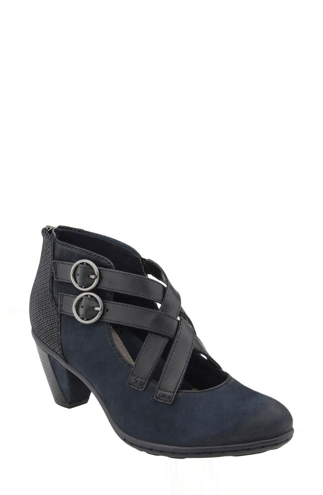 'Amber' Buckle Bootie,                             Main thumbnail 1, color,                             Navy Nubuck Leather