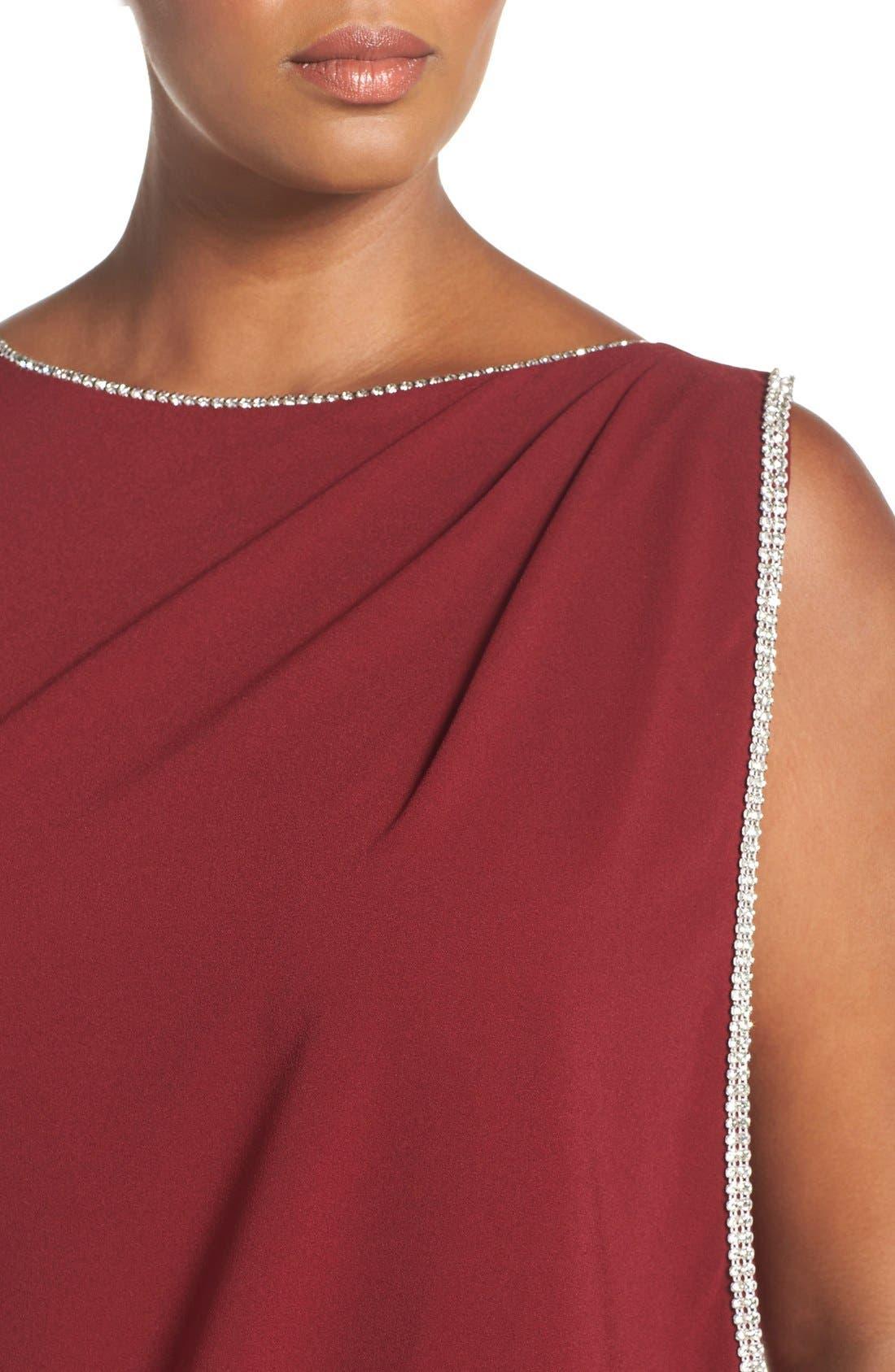 Embellished Overlay Sleeveless Crepe Column Gown,                             Alternate thumbnail 5, color,                             Merlot