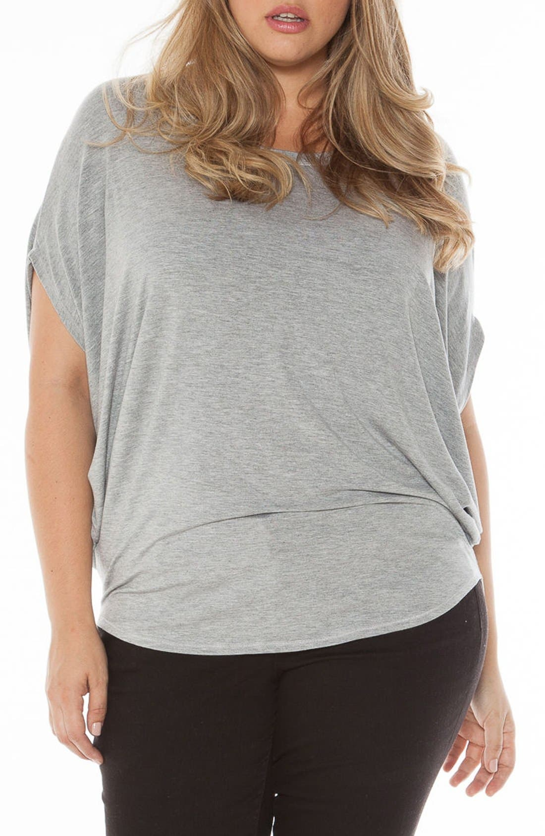 Drape Side Jersey Tee,                             Main thumbnail 1, color,                             Heather Grey