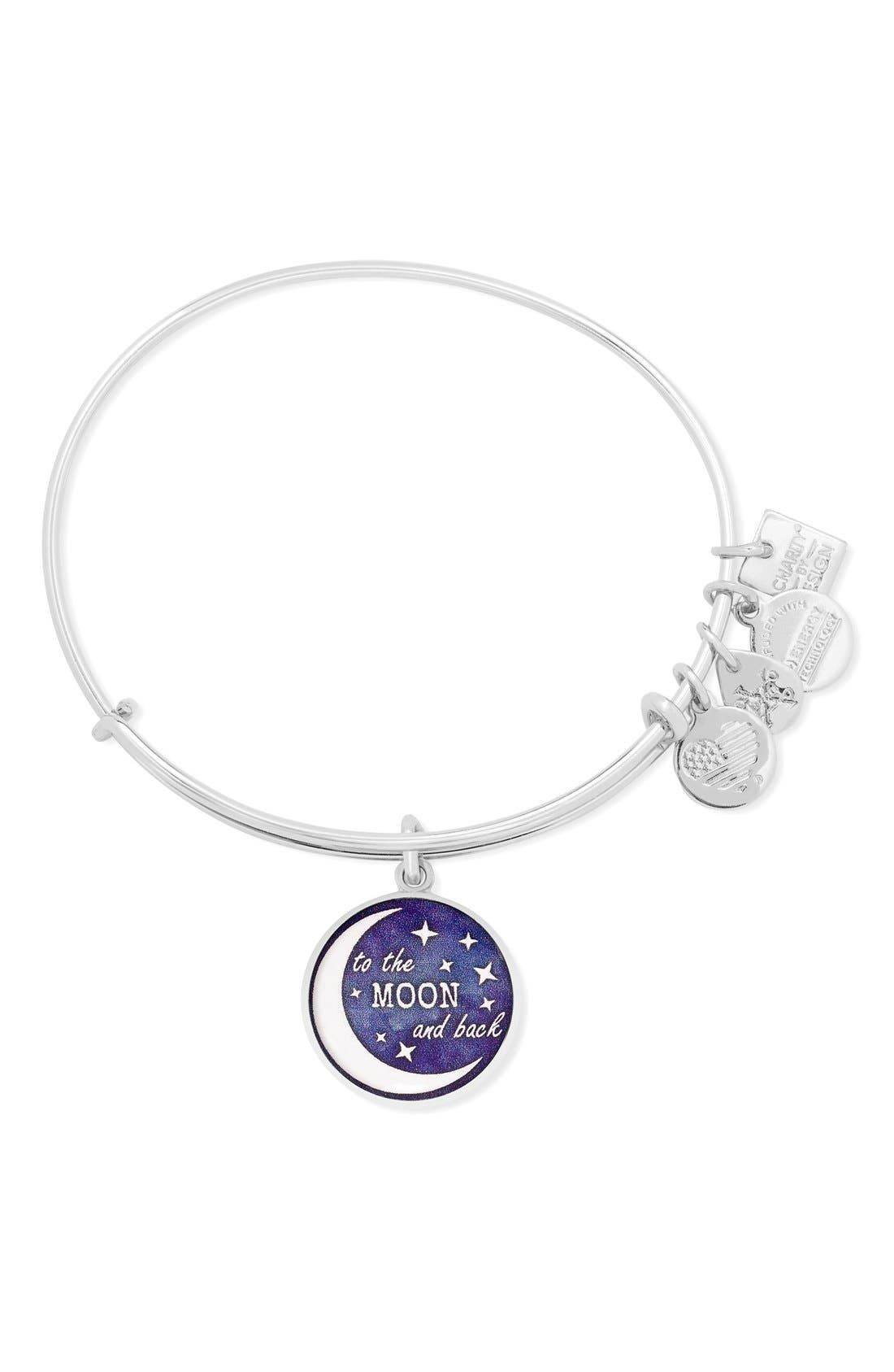 Stellar Love 'To the Moon and Back' Adjustable Wire Bangle,                             Main thumbnail 1, color,                             Silver