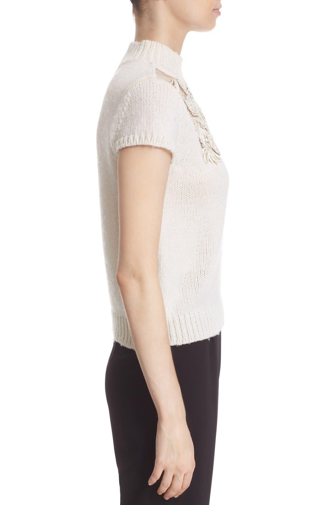 Alternate Image 3  - Alice + Olivia 'Carla' Embellished Yoke Mock Neck Sweater