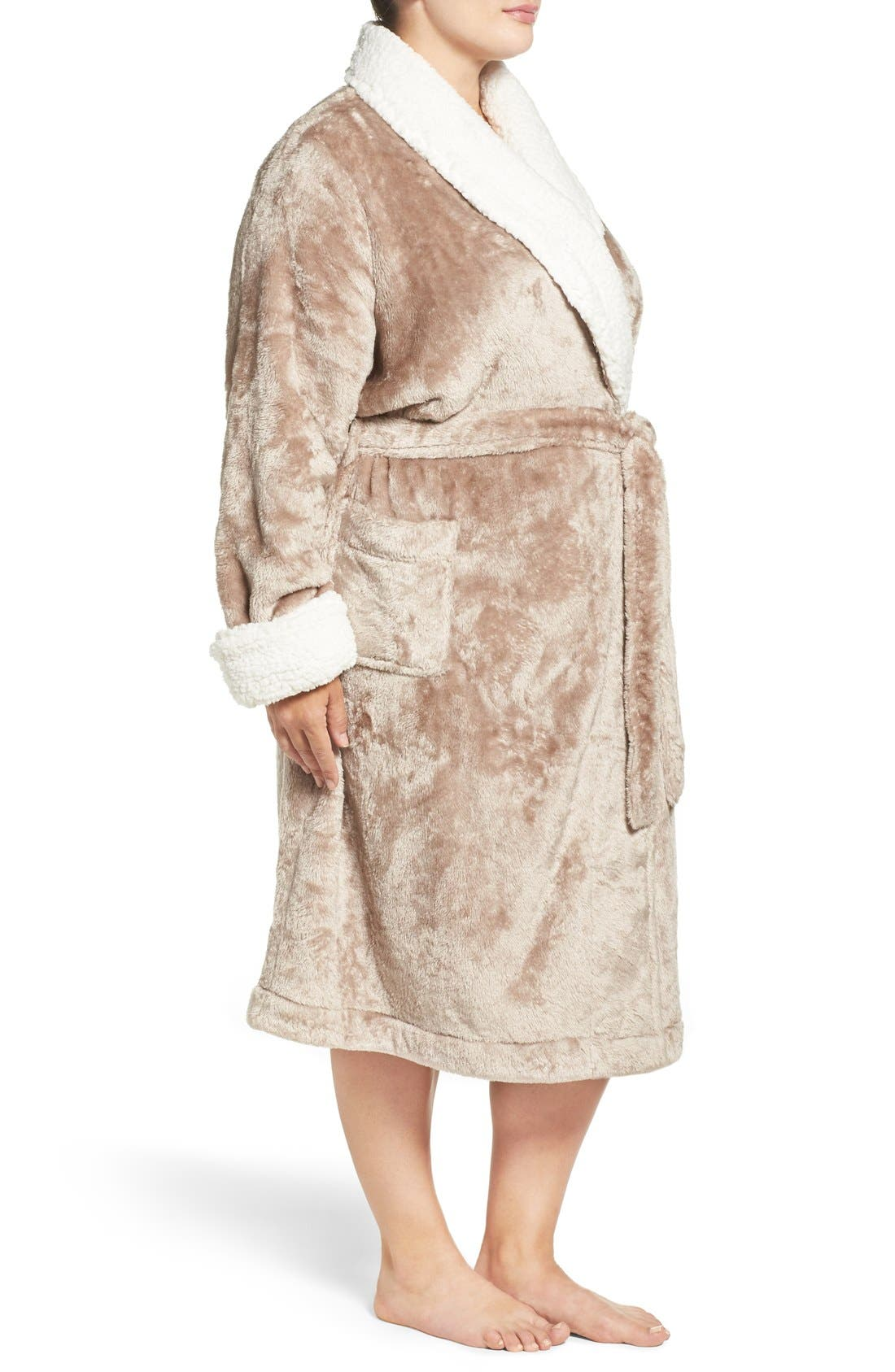 Frosted Plush Robe,                             Alternate thumbnail 3, color,                             Brown