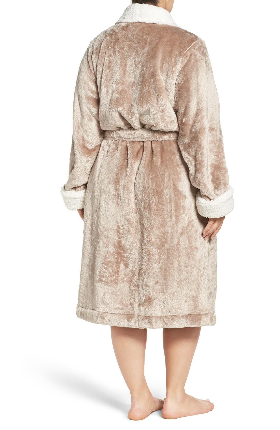 Frosted Plush Robe,                             Alternate thumbnail 2, color,                             Brown