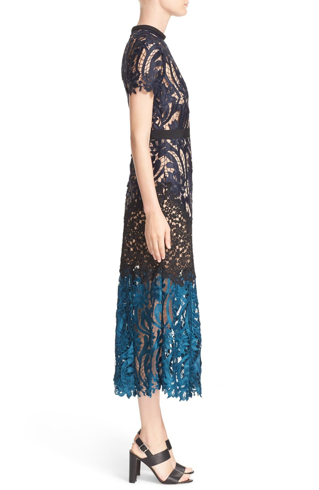Alternate Image 3  - Self-Portrait 'Prairie' Mixed Lace Midi Dress