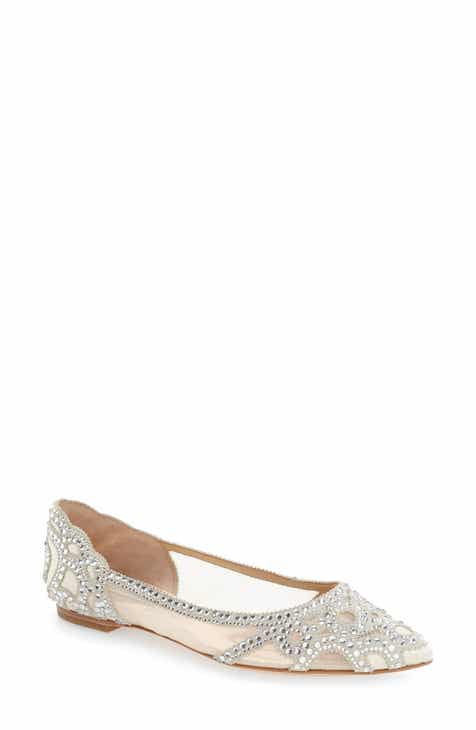 54988ff6d6e Badgley Mischka Gigi Crystal Pointy Toe Flat (Women)