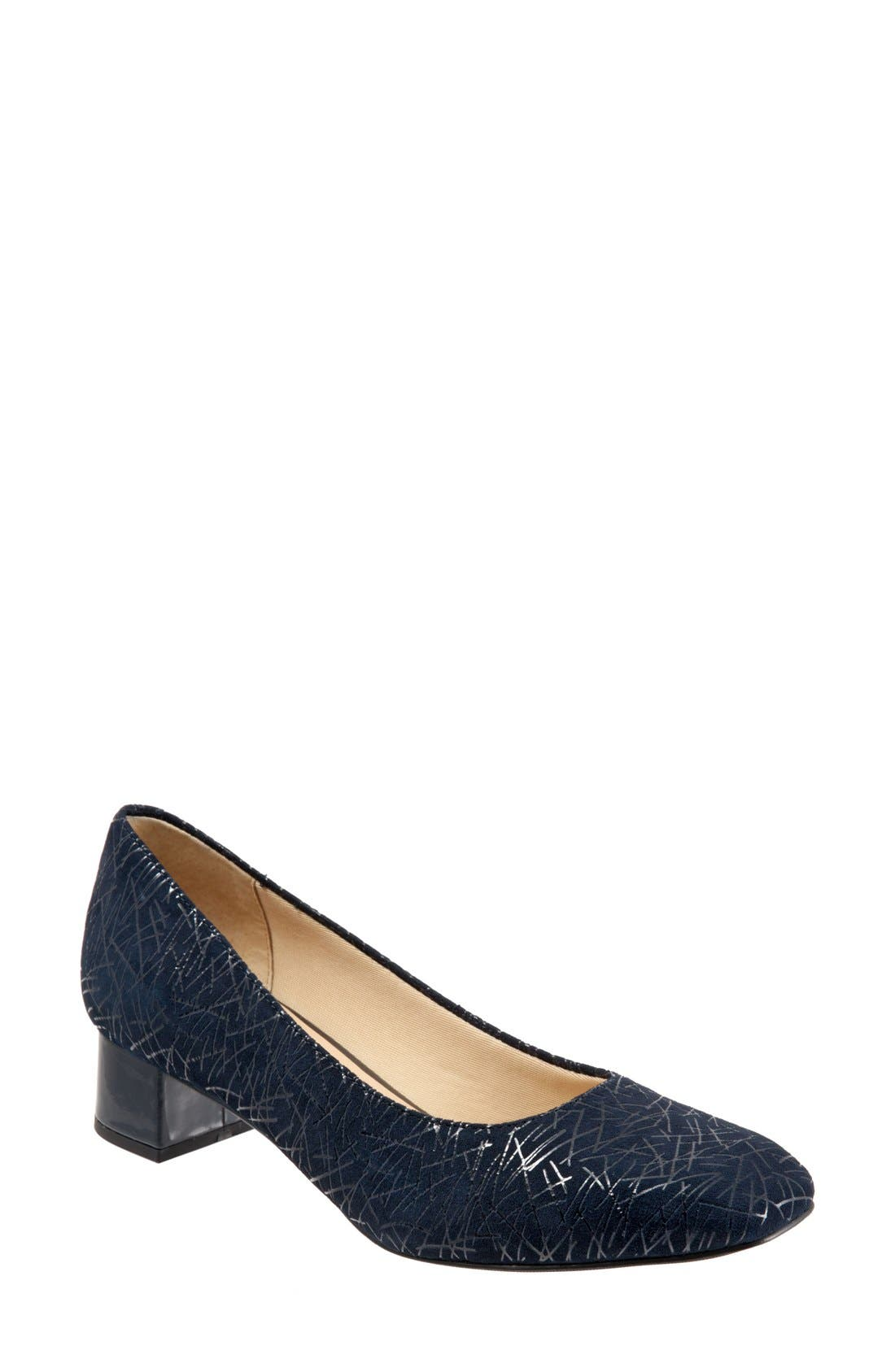 'Lola' Pump,                         Main,                         color, Navy Embossed Leather